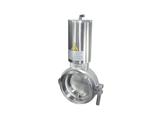 Vertical pneumatic powder butterfly valve