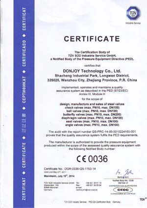 PED/97/23/EC & MD/06/42EC - China Donjoy Technology Co.,Ltd