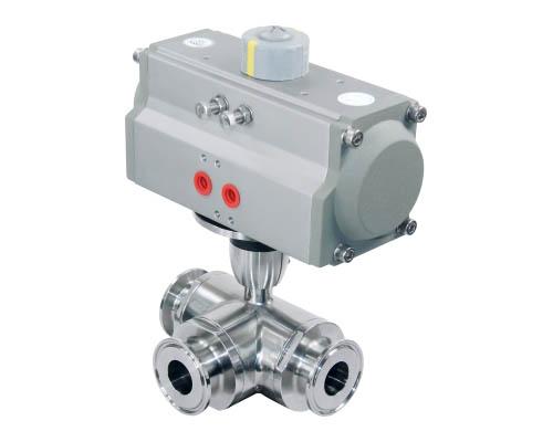 Horizontal pneumatic three way ball valve